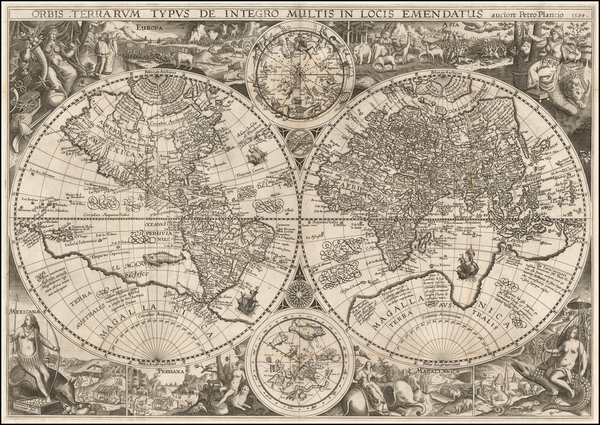 87-World, World and Celestial Maps Map By Petrus Plancius