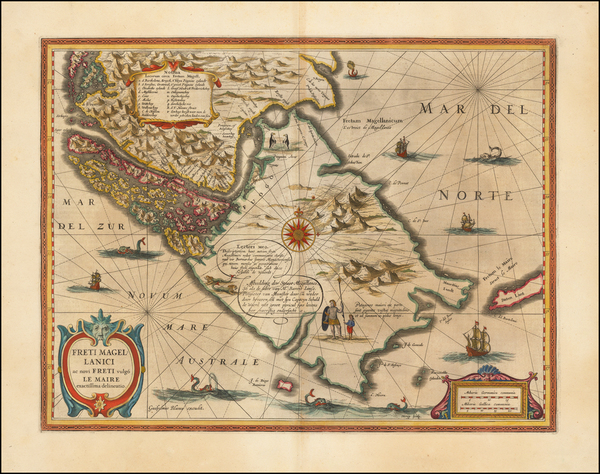 12-Polar Maps, Argentina and Chile Map By Willem Janszoon Blaeu