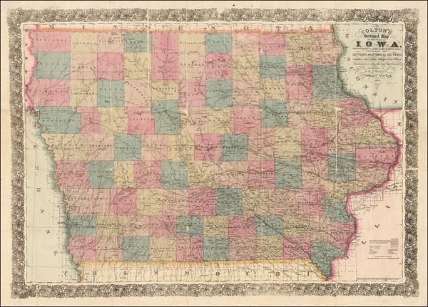 97-Iowa Map By Joseph Hutchins Colton