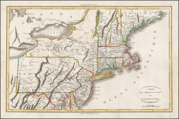 New England and Mid-Atlantic Map By John Marshall