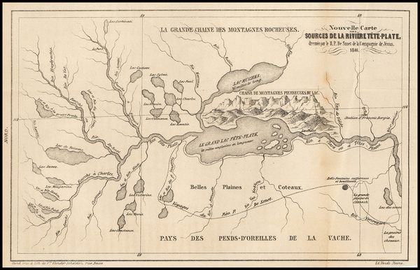 78-Rocky Mountains and Idaho Map By Pierre De Smet