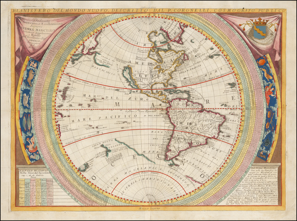 17-Western Hemisphere, North America, South America, Pacific and America Map By Vincenzo Maria Cor