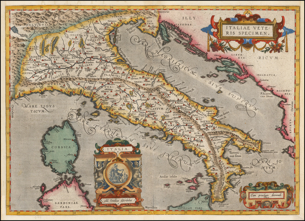 37-Italy Map By Abraham Ortelius