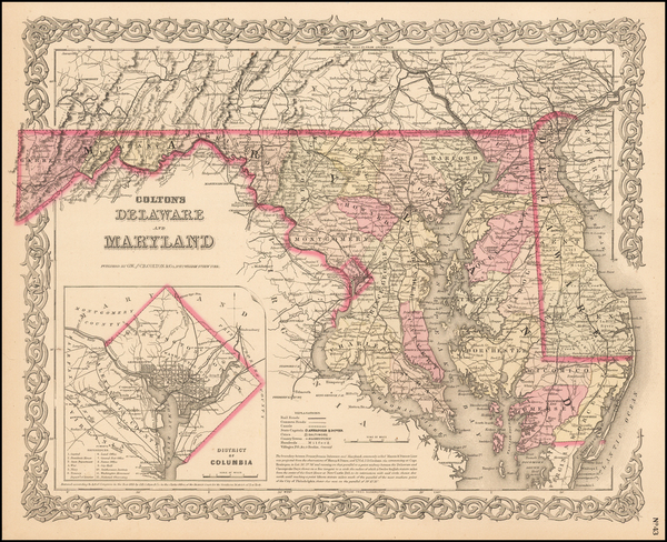 37-Mid-Atlantic Map By Joseph Hutchins Colton