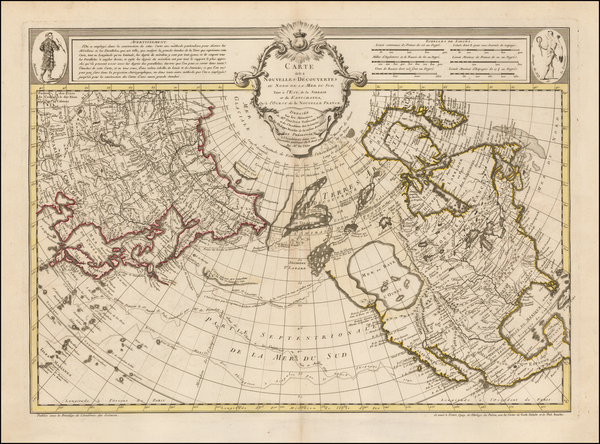 29-Alaska, North America, Canada, China, Japan, Pacific and Russia in Asia Map By Philippe Buache