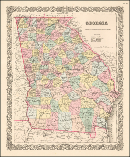 90-Southeast Map By Joseph Hutchins Colton