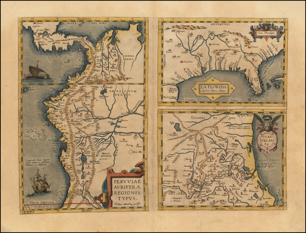 57-Florida, South, Southeast, Central America and South America Map By Abraham Ortelius