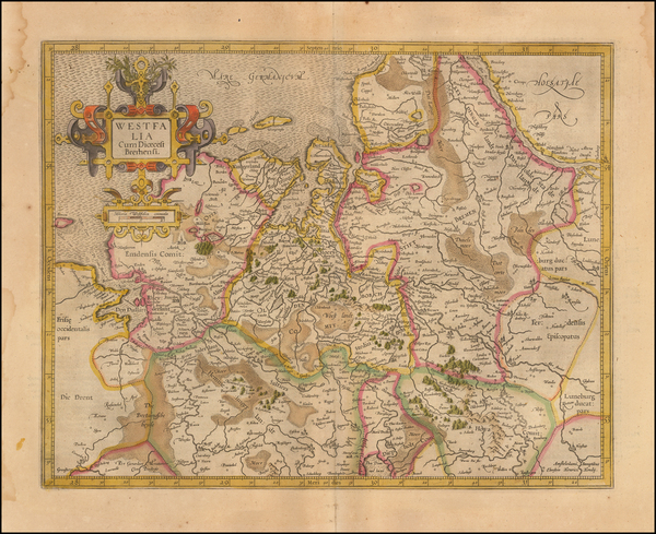66-Netherlands and Germany Map By  Gerard Mercator