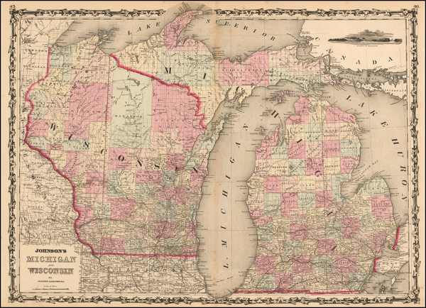 35-Midwest, Michigan and Wisconsin Map By Alvin Jewett Johnson  &  Browning