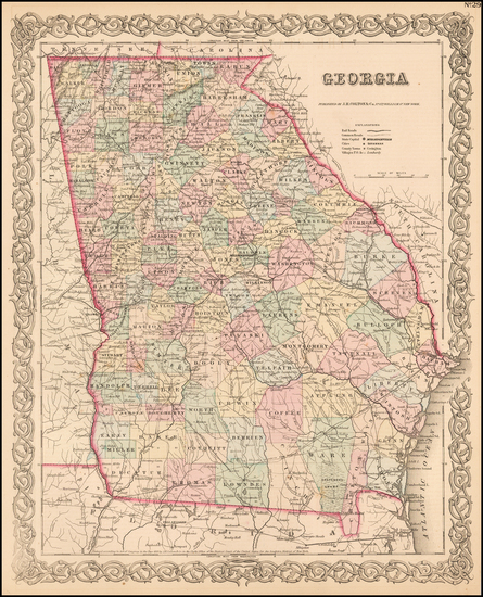 46-Georgia Map By Joseph Hutchins Colton