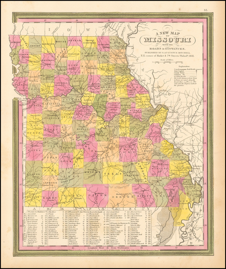 91-Midwest, Plains and Missouri Map By Samuel Augustus Mitchell