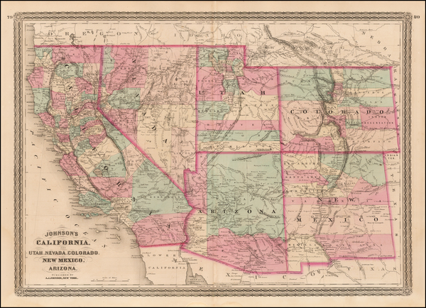 Plains, Southwest, Rocky Mountains and California Map By Alvin Jewett Johnson
