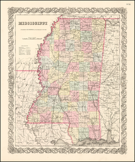 36-South and Mississippi Map By Joseph Hutchins Colton