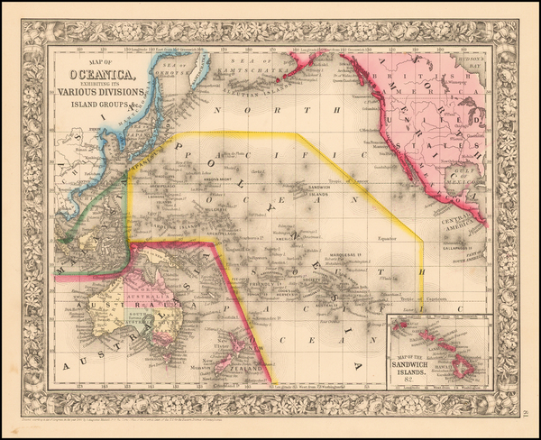 8-World, Pacific and Oceania Map By Samuel Augustus Mitchell Jr.