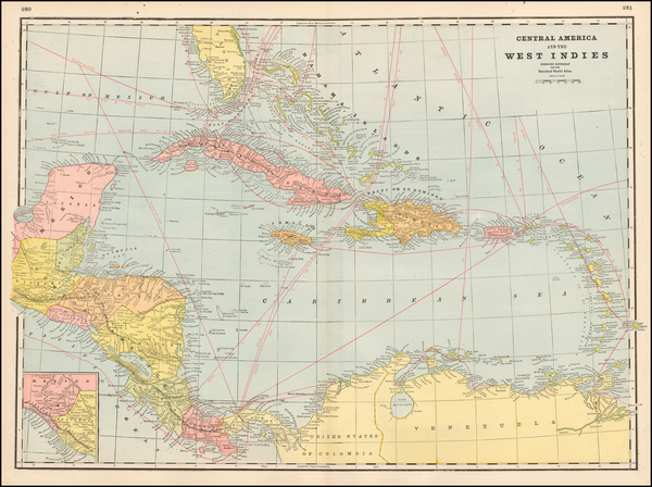 73-Caribbean Map By George F. Cram