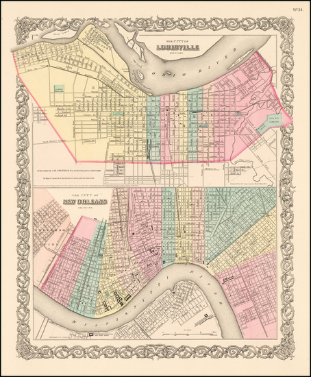 59-South, Midwest and New Orleans Map By Joseph Hutchins Colton