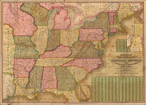 57-United States Map By Samuel Augustus Mitchell