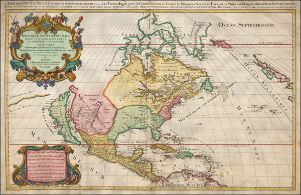 67-North America and California Map By Alexis-Hubert Jaillot