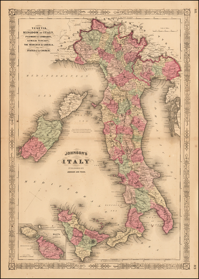 63-Italy and Balearic Islands Map By Benjamin P Ward / Alvin Jewett Johnson