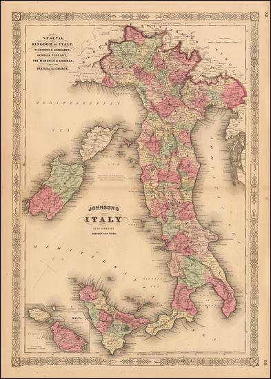 20-Italy and Balearic Islands Map By Benjamin P Ward / Alvin Jewett Johnson