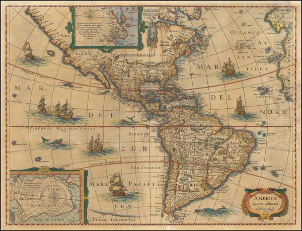4-South America and America Map By Henricus Hondius