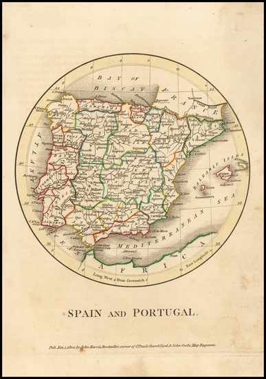 Spain and Portugal Map By John Cooke