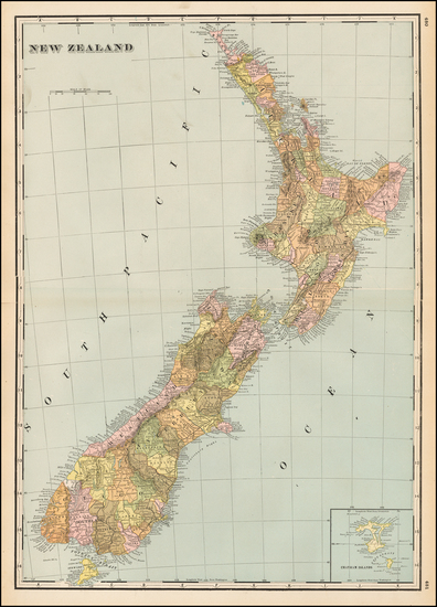 38-New Zealand Map By George F. Cram