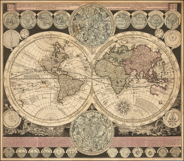 44-World and California as an Island Map By Adam Friedrich Zurner