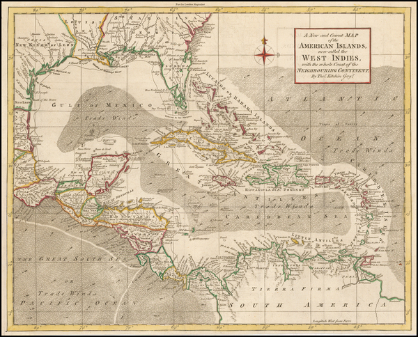 98-Florida, Southeast and Caribbean Map By Thomas Kitchin / London Magazine