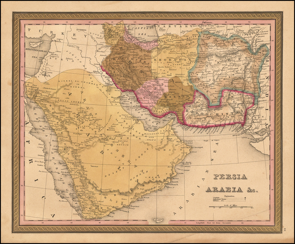 88-Central Asia & Caucasus, Middle East and Persia Map By Samuel Augustus Mitchell