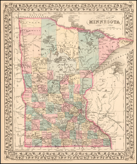 76-Minnesota Map By Samuel Augustus Mitchell Jr.