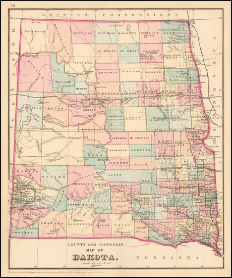 71-North Dakota and South Dakota Map By Samuel Augustus Mitchell Jr.