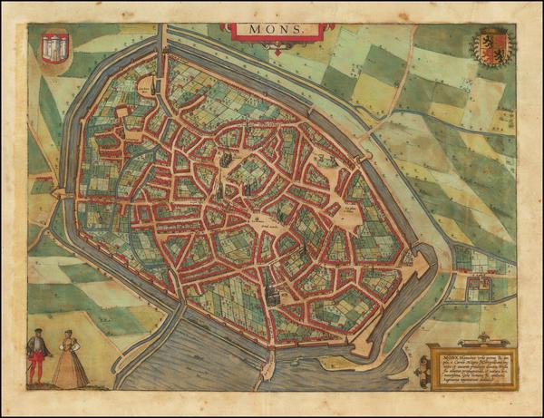 92-Belgium Map By Georg Braun  &  Frans Hogenberg