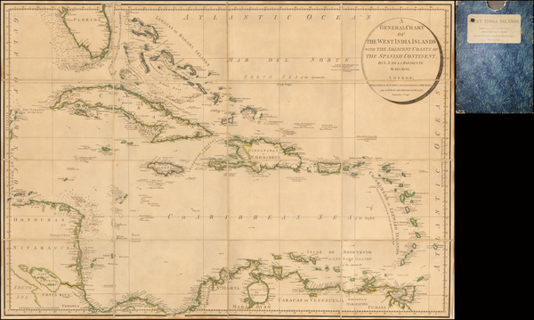 37-Florida, Caribbean and Central America Map By William Faden