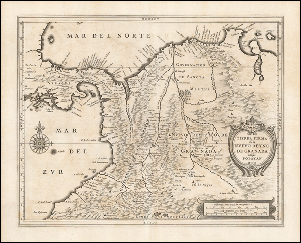 18-South America and Colombia Map By Joannes De Laet