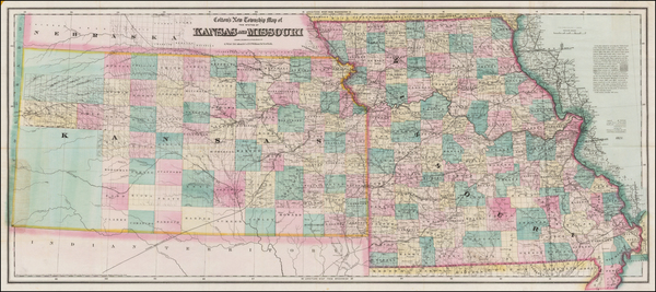 52-Plains, Kansas and Missouri Map By G.W.  & C.B. Colton