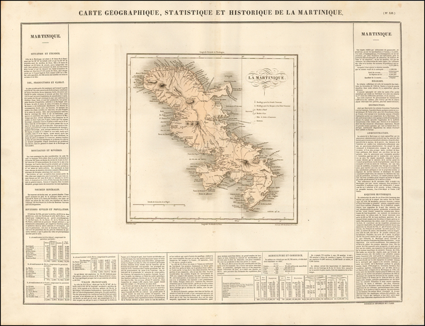 64-Caribbean and Martinique Map By Jean Alexandre Buchon