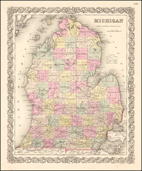 86-Michigan Map By Joseph Hutchins Colton
