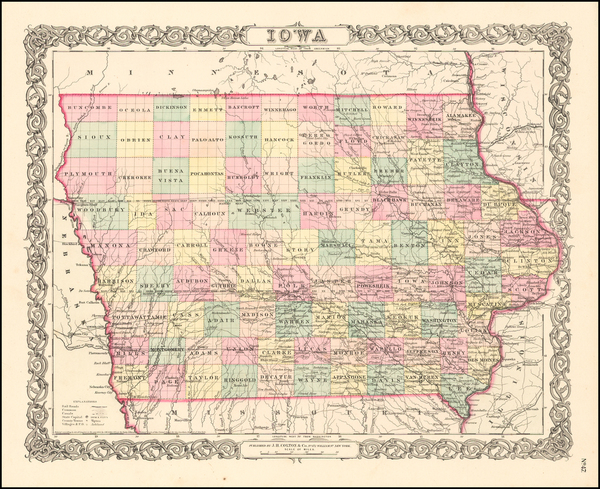50-Iowa Map By Joseph Hutchins Colton