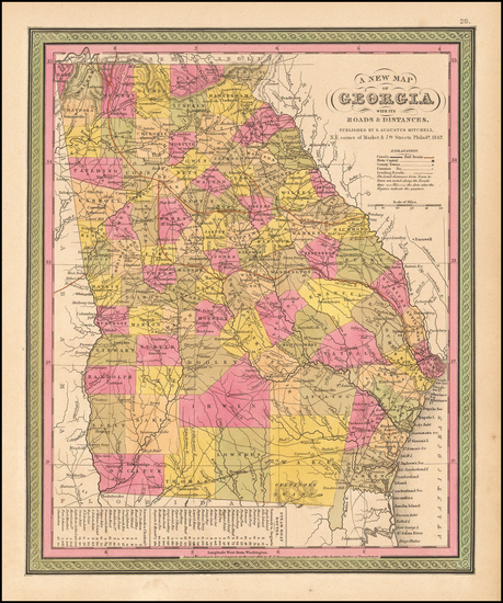 63-Southeast Map By Samuel Augustus Mitchell