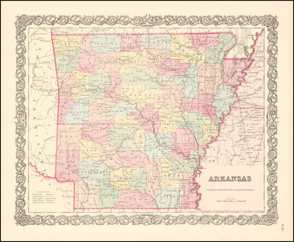 9-South and Arkansas Map By Joseph Hutchins Colton