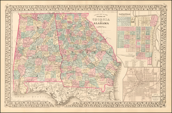54-Alabama, Southeast and Georgia Map By Samuel Augustus Mitchell Jr.