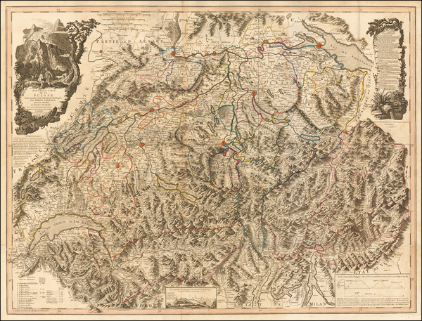 Switzerland and Italy Map By William Faden