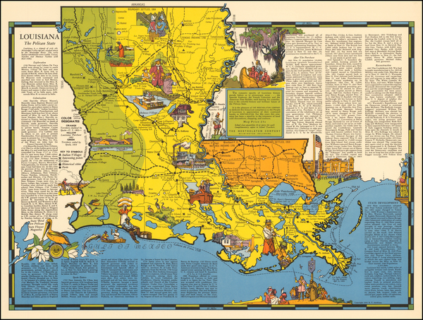 79-Louisiana and Pictorial Maps Map By R.T. Aitchison