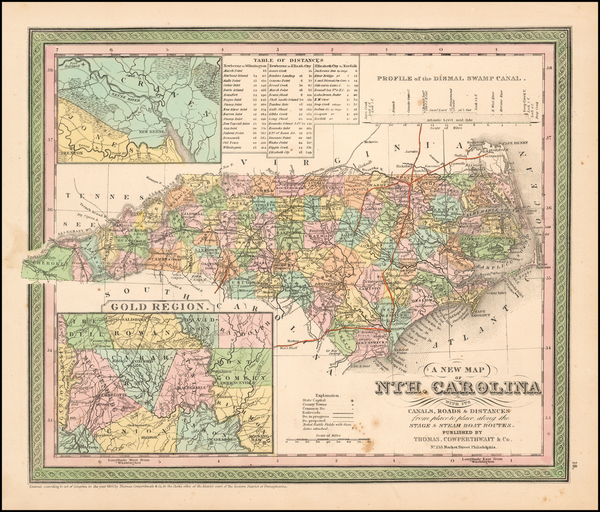 94-North Carolina Map By Thomas, Cowperthwait & Co.