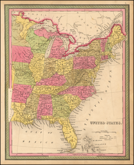94-United States Map By Samuel Augustus Mitchell