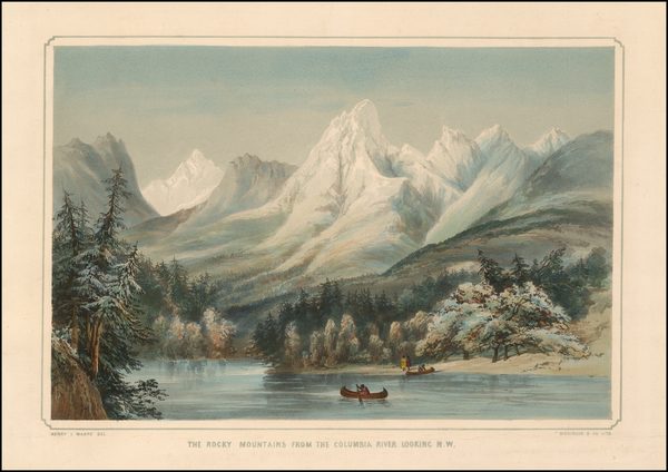 27-Rocky Mountains, Pacific Northwest and Oregon Map By Henry James Warre