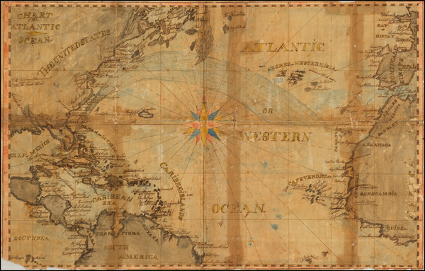 83-Atlantic Ocean, United States, Caribbean, South America, West Africa and America Map By Anonymo