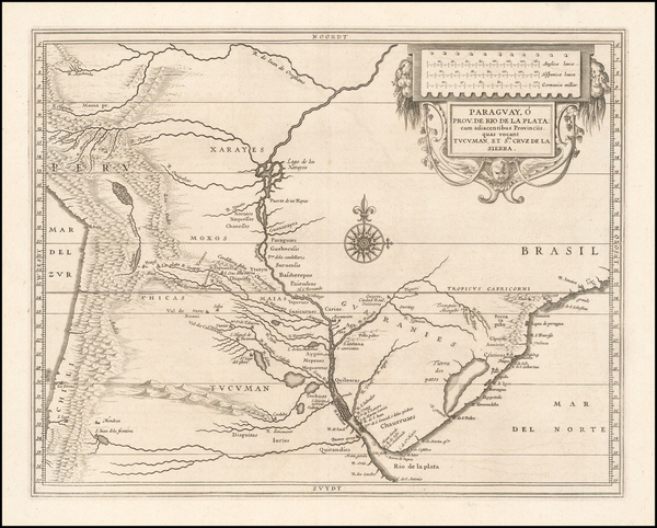 57-South America and Uruguay Map By Joannes De Laet