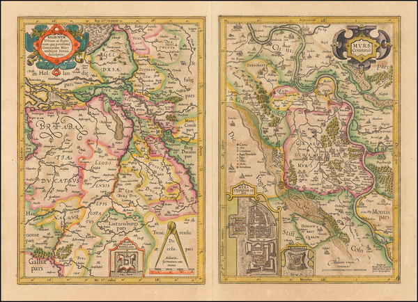 40-Netherlands and Germany Map By  Gerard Mercator